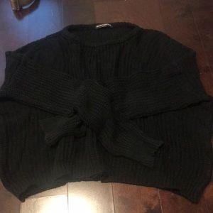 Cropped boxy basic sweater